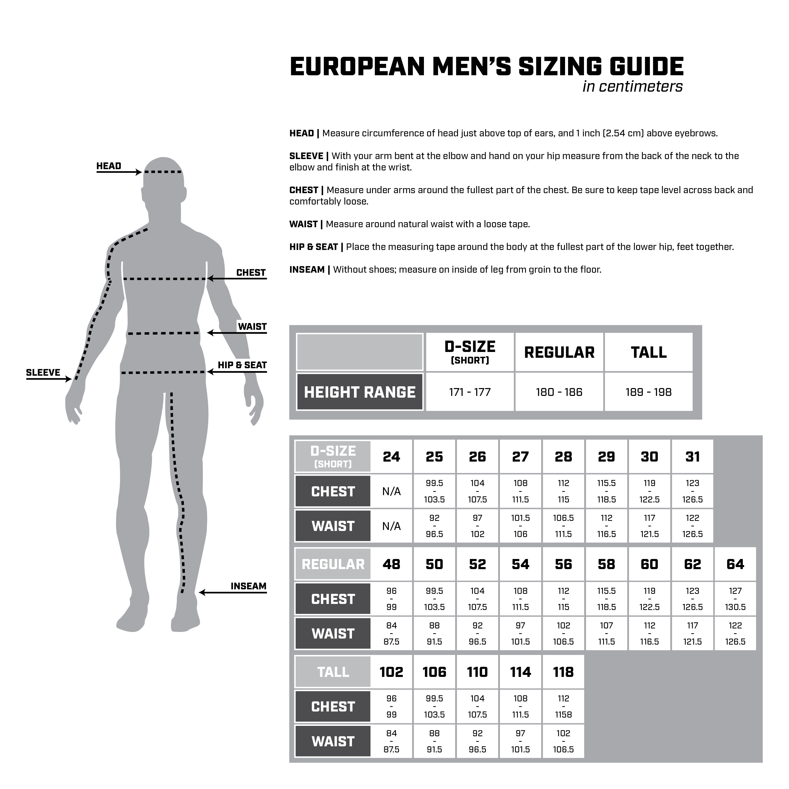 EU Size Chart 1